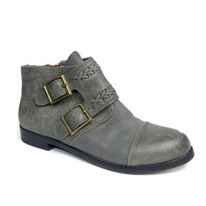 Lucky Brand Gray Booties Leather Zip Ankle Boots